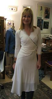 Sian Lloyd wearing wedding dress designed by Imtaz